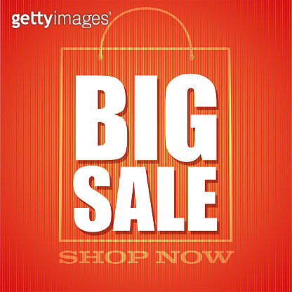 Big sale. Shop now. Shopping bag in outline style. Ad text on red background. Vector 3d illustration.