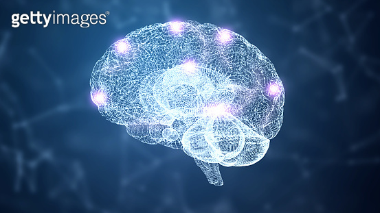 3D Abstract HUD brain and nervous system wireframe hologram simulation node with lighting on blue background. Nanotechnology and futuristics science concept. Medical and Healthcare. Intelligence and knowledge brain structure