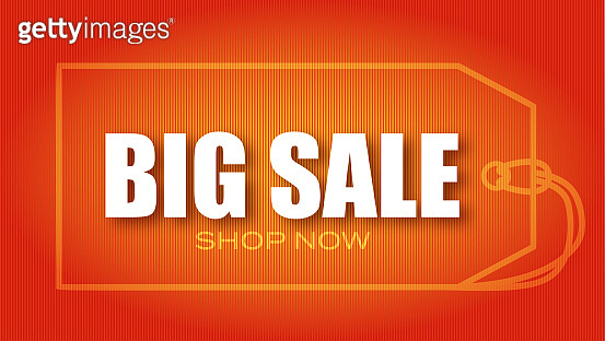 Big sale. Shopping tag and ad text on red background. Vector 3d illustration.