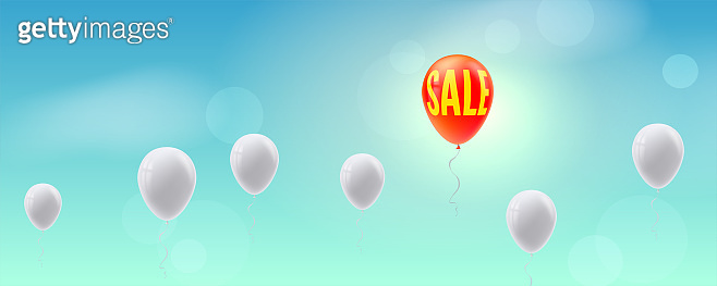 Business concept for sales actions. Inflatable balloons hover in line in blue sky. Creative view of situations for innovative solution.