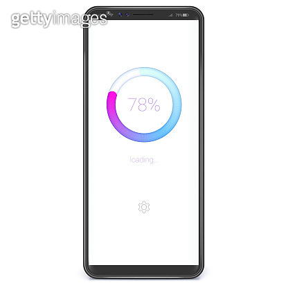 Realistic smart phone with load or download bar on screen. White background, trendy gradient. Vector template for smartphone X sizes.