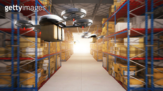 Delivery drone delivering the packages to the distribution center and customers from warehouse storage. Futuristics industrial technology transportation vehicle concept. 3D illustration rendering