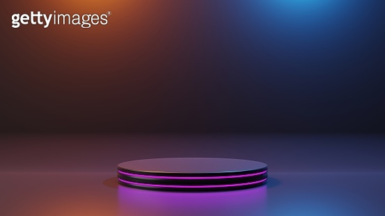 Product stand pedestal podium platform stage in studio. Modern black and purple shade emission. Abstract minimal product showcase presentation template exhibition advertise event scene. 3D rendering