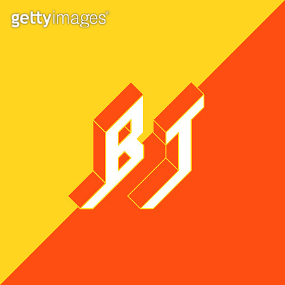 BT - international 2-letter code or National domain of Bhutan. B and T - Monogram or logotype. Isometric 3d font for design. Three-dimension letters.