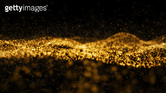 Abstract digital transformation golden color wave particles on black background abstract background. Cyber futuristic technology backdrop concept. Luxury pattern. 3D illustration rendering