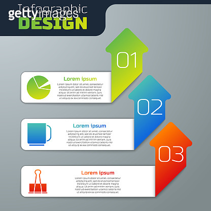 Set Pie chart infographic, Coffee cup and Binder clip. Business infographic template. Vector