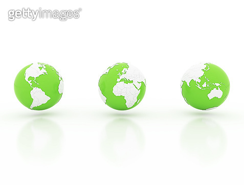 Globe with national borders, 3d render on white background