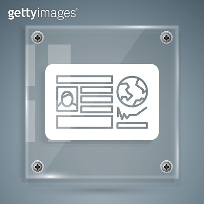 White Passport with visa stamp icon isolated on grey background. Identification Document. Square glass panels. Vector Illustration