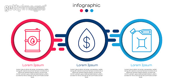 Set line Barrel oil, Oil drop with dollar and Canister for gasoline. Business infographic template. Vector