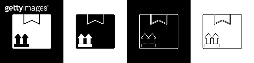 Set Cardboard box with traffic symbol icon isolated on black and white background. Box, package, parcel. Delivery, transportation and shipping. Vector Illustration