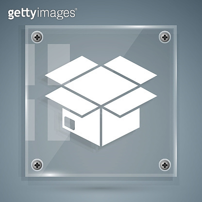 White Carton cardboard box icon isolated on grey background. Box, package, parcel sign. Delivery and packaging. Square glass panels. Vector Illustration