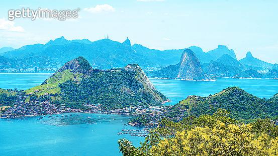 Aerial view of Rio de Janeiro with Corcovado Mountain.