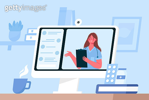 Online medical consultation, support. Online doctor. Healthcare services. Family female doctor with stethoscope on the computer screen. Vector illustration for websites landing page templates.