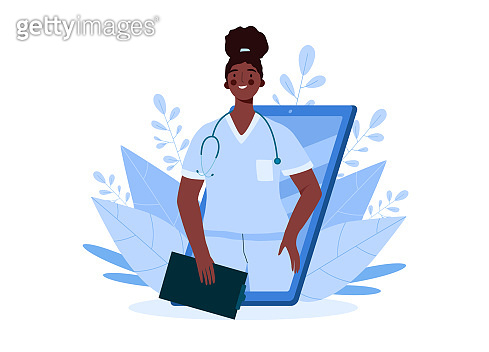 Online medical consultation, support. Online doctor. Healthcare services. Family male doctor with stethoscope on smartphone. Online medical advise or consultation service, tele medicine, cardiology.