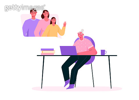 Family videoconference. Online communication. Parents and little daughter chatting with grandmother by video call. Online chat. Family together. Quarantine and self-isolation.Flat vector illustration.