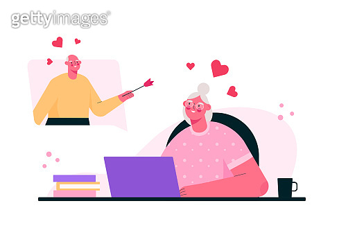 Virtual relationships. Online date during quarantine . Senior couple chatting online, meeting at dating app, talking via video chat. Old man and woman in love. Vector flat cartoon illustration.