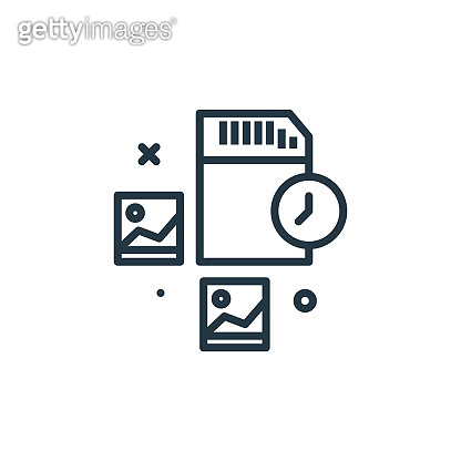 memory card vector icon isolated on white background. Outline, thin line memory card icon for website design and mobile, app development. Thin line memory card outline icon vector illustration.