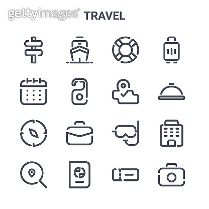 set of 16 travel concept vector line icons. 64x64 thin stroke icons such as ship, calendar, dish, snorkel, passport, camera, ticket, map, luggage