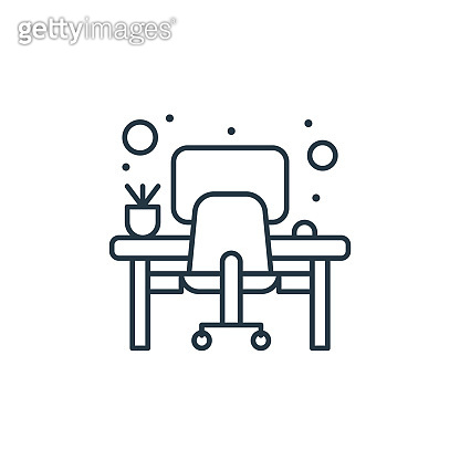 office desk vector icon. office desk editable stroke. office desk linear symbol for use on web and mobile apps, logo, print media. Thin line illustration. Vector isolated outline drawing.