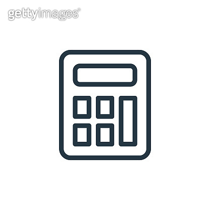 calculator vector icon isolated on white background. Outline, thin line calculator icon for website design and mobile, app development. Thin line calculator outline icon vector illustration.