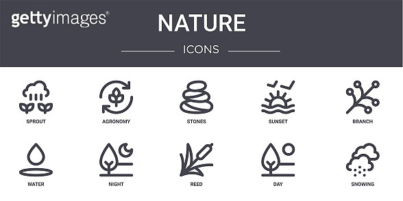 nature concept line icons set. contains icons usable for web, logo, ui/ux such as agronomy, sunset, water, reed, day, snowing, branch, stones