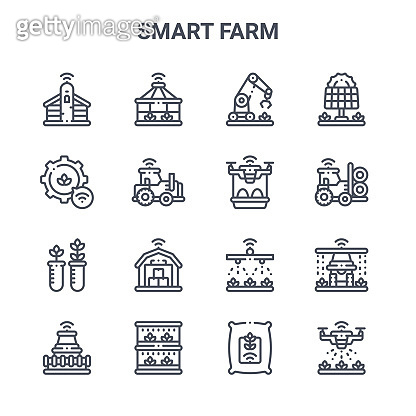 set of 16 smart farm concept vector line icons. 64x64 thin stroke icons such as house, settings, tractor, watering, vertical farming, drone, seed bag, drone, solar energy