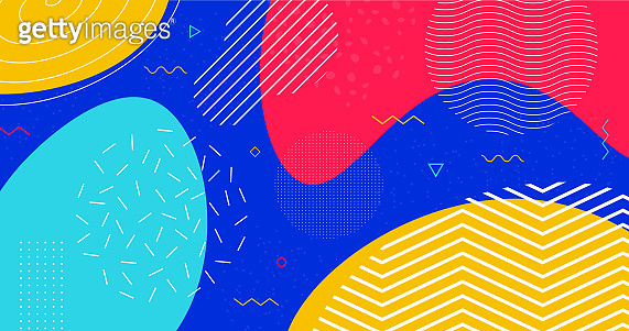 Abstract colorful geometric background vector design. Trendy geometric pattern backdrop. Vibrant bright liquid shapes composition.