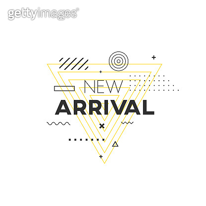 New Arrival geometric banner. Trendy mempis pattern shape.