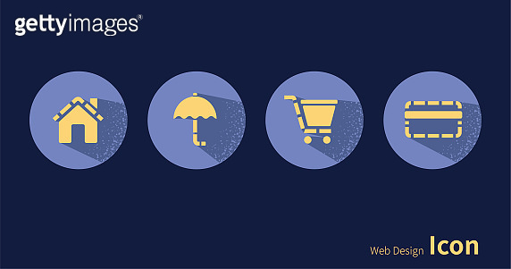House, umbrella, shopping cart, credit card, icon set.