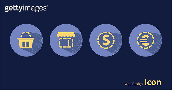 Shopping basket, store, dollar, euro, icon set.