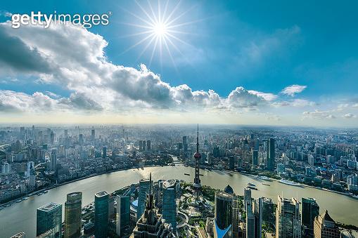 Aerial panoramic view of Shanghai skyline