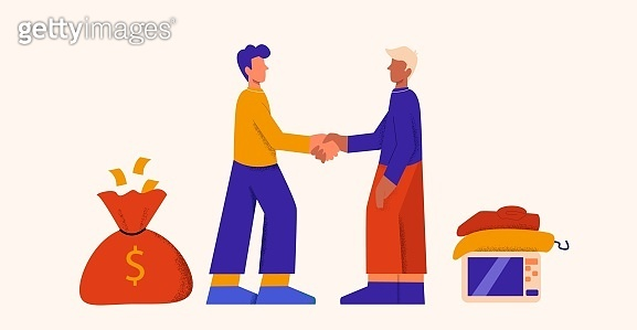 Two cartoon man making sale deal shaking hand changing money to things vector flat illustration
