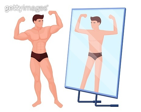 Reflection in mirror of a man no muscles. Male bodybuilder character with pumped up muscles.