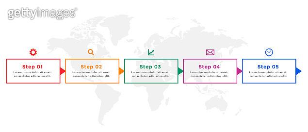 five steps business timeline infographic template vector design illustration