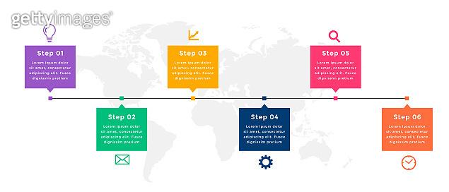 business timeline infographic template design six steps vector design illustration