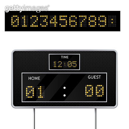 Realistic vector 3D digital modern sports scoreboard. Digital led display to displaying  the result of the game.