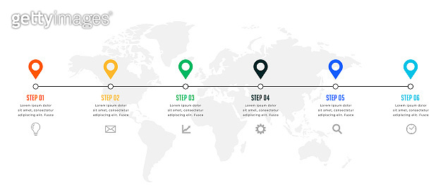 six steps timeline or milestone infographic template
