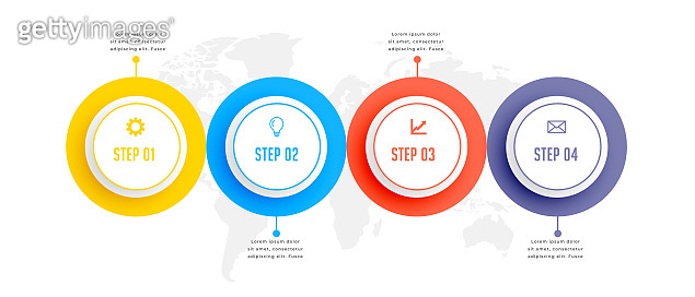 four steps circular business infographic template design