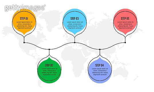 five steps modern infographic timeline background design