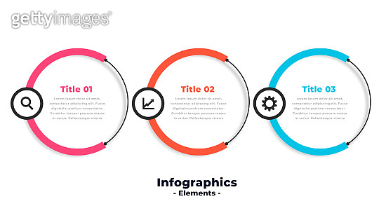 three steps circular modern infographic template vector design illustration
