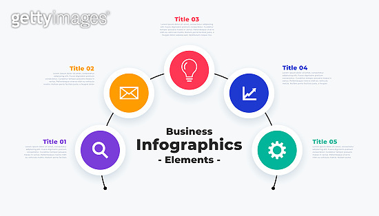modern infographic template with five steps or points vector design illustration