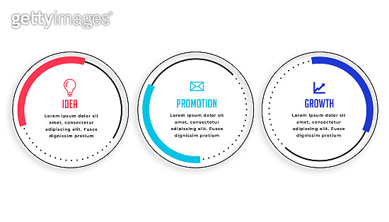 three steps circular infographic template modern vector design illustration