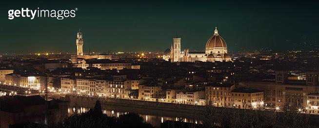 Panorama of Florence skyline at night, Tuscany, Italy