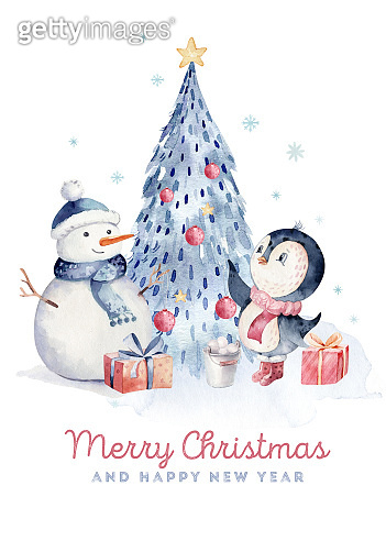 Watercolor merry christmas character penguin illustration. Winter cartoon isolated cute funny animal design card. Snow holiday season xmas penguins.