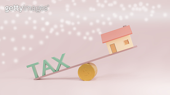Real estate property invest and Tax management concept. 3d render.