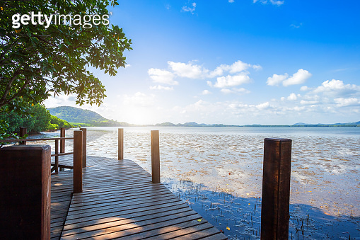 bridge wooden walking way in The forest mangrove and the sea the horizon in Chanthaburi Thailand.
