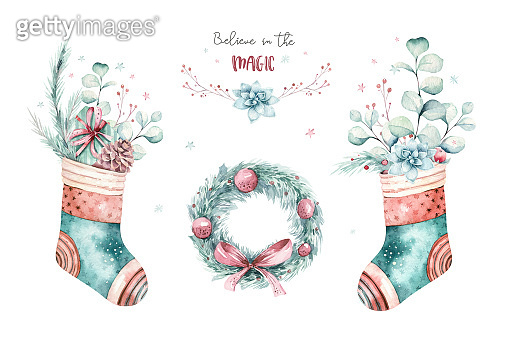 watercolor holiday christmas clipart. Winter decoration element. Merry christmas design. Pine tree branch, frame, berries. New year invitation decorative design