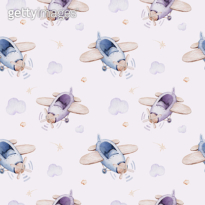 Watercolor purple illustration of a cute and fancy sky scene complete with airplanes and balloons, clouds. Baby Boy and girl pattern. baby shower, nursery design