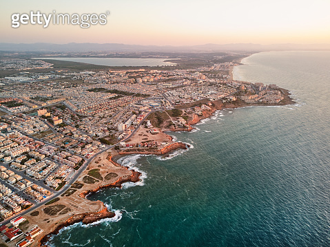 Aerial photo of Torrevieja cityscape during sunrise