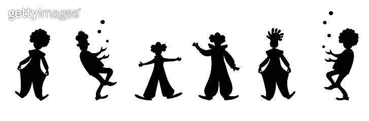 Funny clown juggling. Color cartoon vector drawing image.